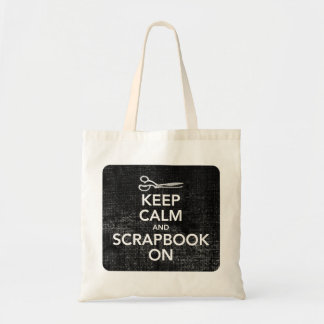 Keep Calm and Scrapbook On Tote 2, Inverted Black Budget Tote Bag