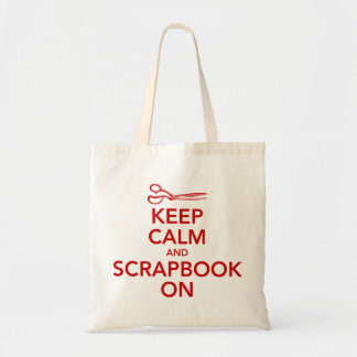 Keep Calm and Scrapbook On Tote 2, Red Budget Tote Bag