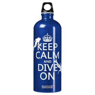 Keep Calm and (scuba) Dive On (in any color) Aluminum Water Bottle