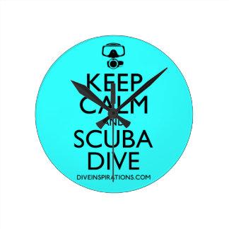 Keep Calm and Scuba Dive Round Clock