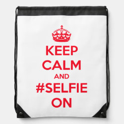 Drawstring Backpack with Keep Calm and #selfie On design