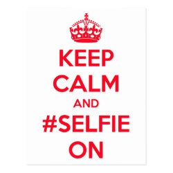 Postcard with Keep Calm and #selfie On design
