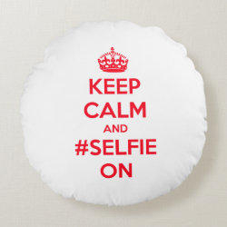 Round Throw Pillow (16') with Keep Calm and #selfie On design