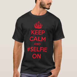 Men's Basic Dark T-Shirt with Keep Calm and #selfie On design