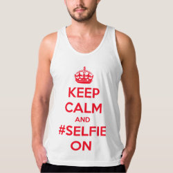Men's American Apparel Fine Jersey Tank Top with Keep Calm and #selfie On design