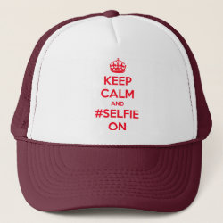 Trucker Hat with Keep Calm and #selfie On design