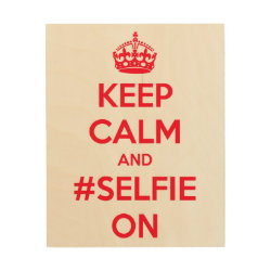 8'x10' Wood Canvas with Keep Calm and #selfie On design
