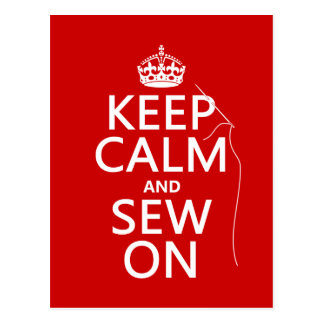 Keep Calm and Sew On (all colors) Postcard