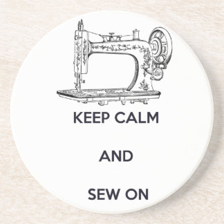 Keep Calm and Sew On Drink Coaster