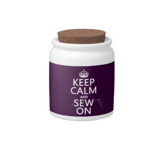 Keep Calm and Sew On in all colors Candy Jar