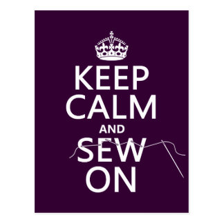 Keep Calm and Sew On (in all colors) Postcards