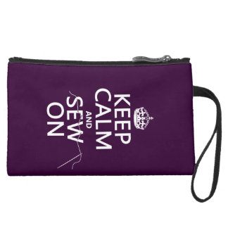 Keep Calm and Sew On (in all colors) Suede Wristlet
