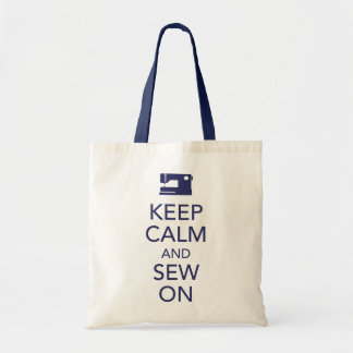 Keep Calm and Sew On Navy Tote Bag