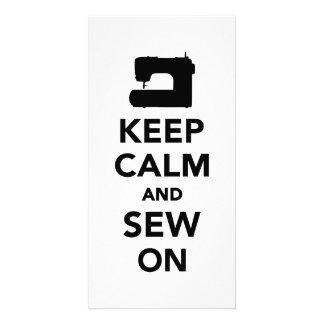 Keep calm and sew on photo card