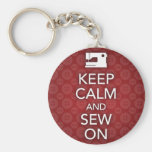 Keep Calm and Sew On Red Keychain