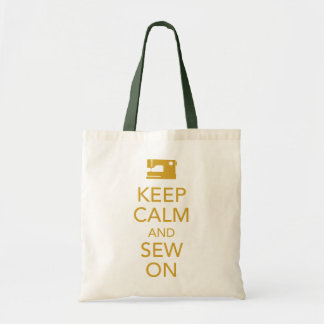 Keep Calm and Sew On Yellow Tote Bag