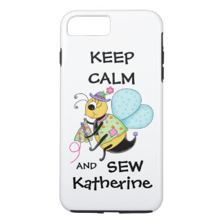 Keep Calm and Sew Sewing Bee Name Personalized iPhone 7 Plus Case