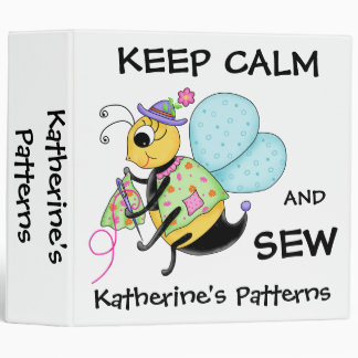 Keep Calm and Sew Whimsy Honey Bee Art 3 Ring Binder