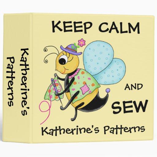 Keep Calm and Sew Whimsy Honey Bee Art Vinyl Binder