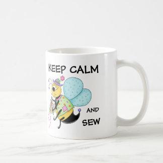 Keep Calm and Sew Whimsy Honey Bee Art Coffee Mug