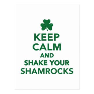 Keep calm and shake your shamrocks postcard