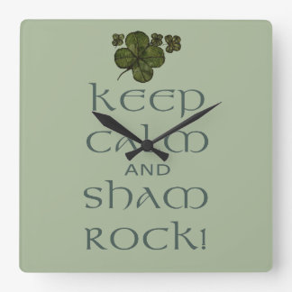 Keep Calm and Sham Rock! Wallclock