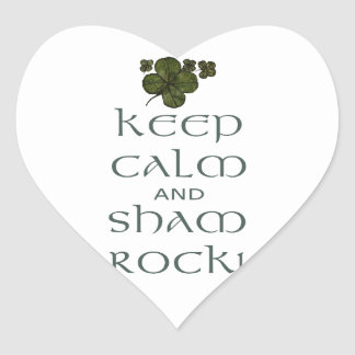 Keep Calm and Sham Rock! Heart Stickers
