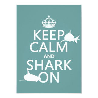 Keep Calm and Shark On (customizable colors) 5.5x7.5 Paper Invitation Card