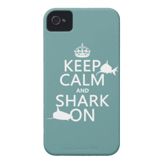Keep Calm and Shark On (customizable colors) iPhone 4 Cover