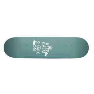 Keep Calm and Shark On (customizable colors) Skateboard Deck