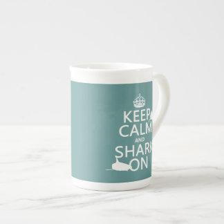 Keep Calm and Shark On (customizable colors) Porcelain Mug