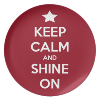 Keep Calm and Shine On Red Party Plate