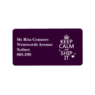 Keep Calm and Ship It (hearts) (in any color) Custom Address Label