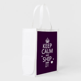 Keep Calm and Ship It (hearts) (in any color) Reusable Grocery Bag
