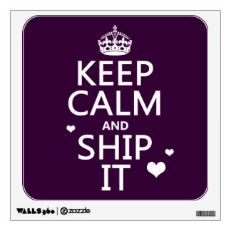 Keep Calm and Ship It (hearts) (in any color) Wall Decal