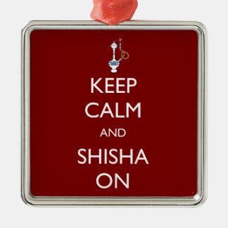 Keep Calm and Shisha On Square Metal Christmas Ornament
