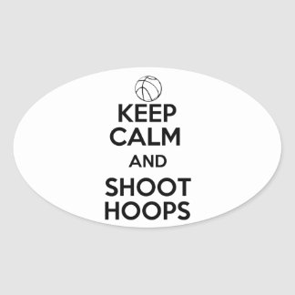 Keep Calm and Shoot Hoops Oval Sticker