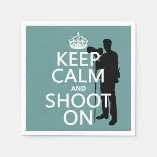 Keep Calm and Shoot On (photography) Napkin