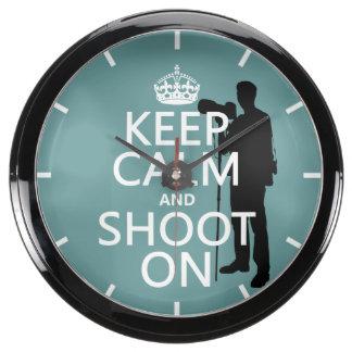 Keep Calm and Shoot On (photos)(any color) Aquarium Clock