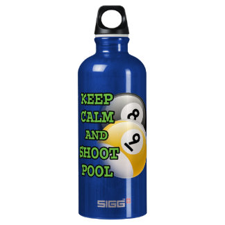 Keep Calm and Shoot Pool Aluminum Water Bottle
