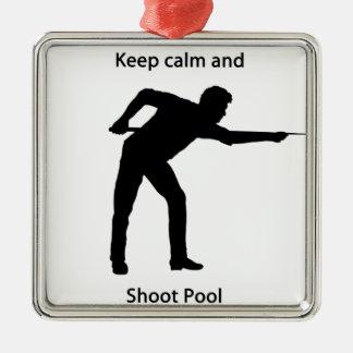 Keep calm and shoot pool metal ornament