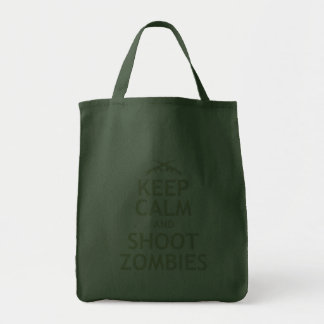 Keep Calm and Shoot Zombies Grocery Tote Bag