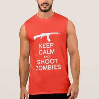 KEEP CALM AND SHOOT ZOMBIES SLEEVELESS TEE