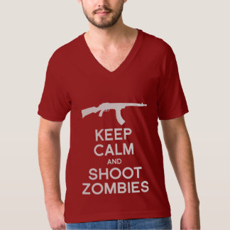 KEEP CALM AND SHOOT ZOMBIES T SHIRT