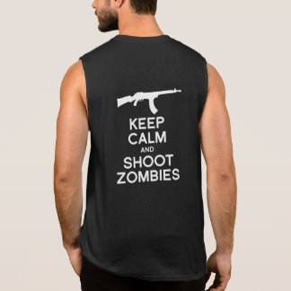 KEEP CALM AND SHOOT ZOMBIES SLEEVELESS T-SHIRT
