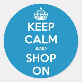 Keep Calm and Shop Bright Blue Classic Round Sticker