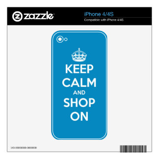 Keep Calm and Shop Bright Blue iPhone 4 Skins