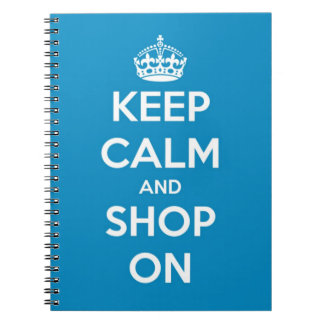 Keep Calm and Shop Bright Blue Notebook