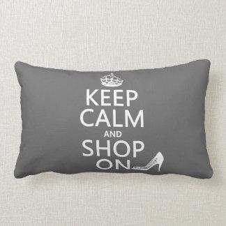 Keep Calm and Shop On - all colors Lumbar Pillow