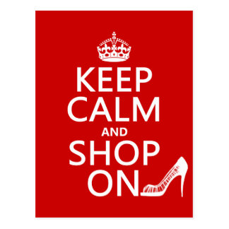 Keep Calm and Shop On - all colors Postcards